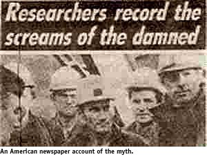 Newspaper cutting of Researchers who Recorded Screams of the Damned